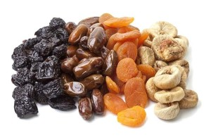 Variety of dried fruits on white background
