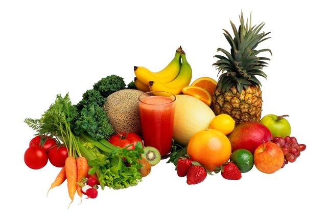 Frutas verduras e legumes na mesa